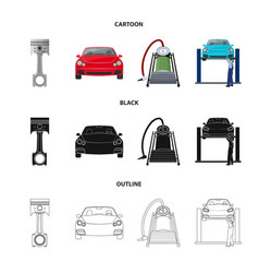 car on lift piston and pump cartoonblackoutline vector image
