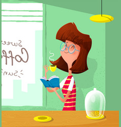 Cartoon cute girl drink coffee and read book vector