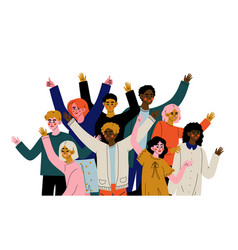 cheerful crowd people different vector image
