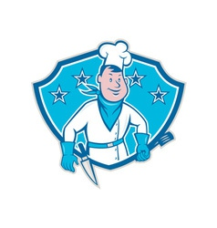Chef cook star shield vector