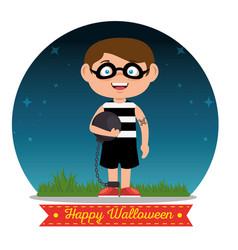 Children wearing halloween custome vector