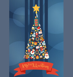 christmas 2019 happy new year decorated tree vector image