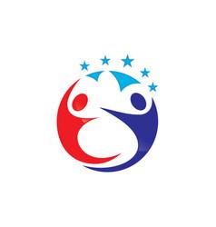 Circle human with star logo design vector