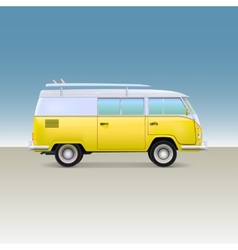 Classic yellow minivan with surfboard Vintage bus vector