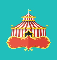 Classical circus tent with banner for text vector