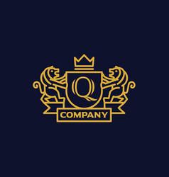 Coat arms letter q company vector