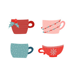 collection hot drinkcups and mugs vector image