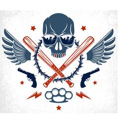 Criminal tattoo gang emblem or logo with vector