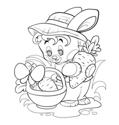cute bunny in a hat collects carrots in his basket vector image