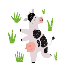 cute dancing black and white cow cartoon farm vector image