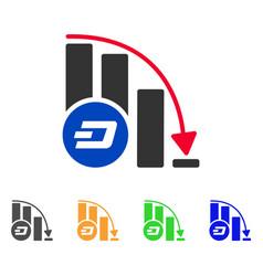dashcoin falling acceleration chart icon vector image
