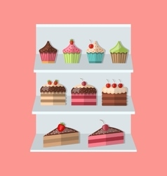 Delicious sweets piece cake stand market icons set vector