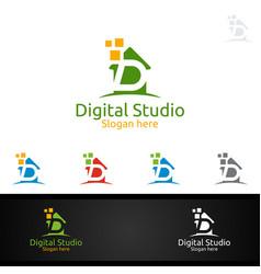 digital studio letter d for marketing vector image