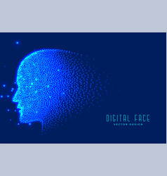 Digital technology face made with particles for vector