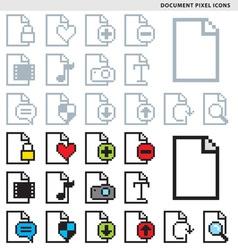 Document pixel icons vector