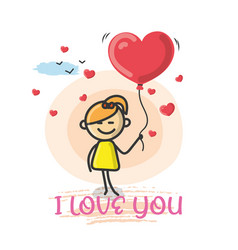doodle cartoon figure i love you vector image