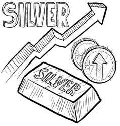Doodle currency silver increase vector