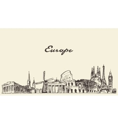 Europe skyline drawn sketch vector