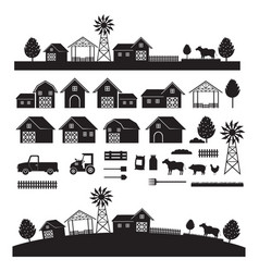 Farm objects and landscape silhouette set vector