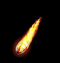 Fire meteorite icon realistic style vector