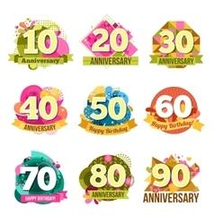Flat Anniversary Emblems Set vector image