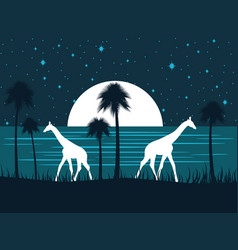 Giraffe on shore at night with a full moon vector