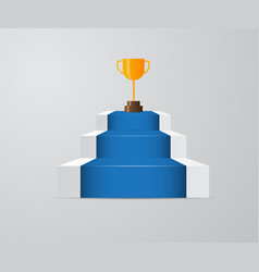 golden trophy on ladder of success vector image