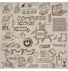 hand- drawn computer icons vector image