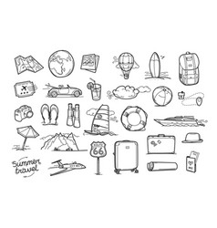 Hand drawn travel doodle elements isolated on vector