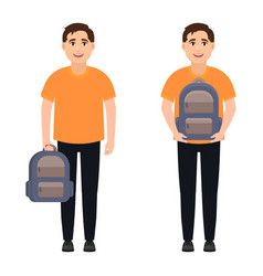 Happy guy holding backpack student with backpack vector