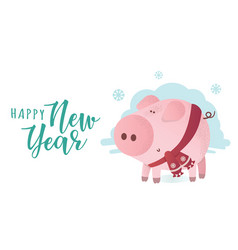 happy new year banner cute pig in winter scarf vector image