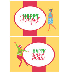 happy new year party dancing women cards vector image