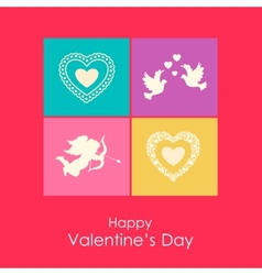 Happy valentines day card with angel doves vector