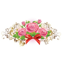 Horizontal vignette of roses and golden curls vector image