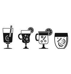 hot mulled wine icon set simple style vector image