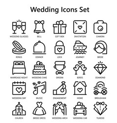 Icons set wedding day in line style vector