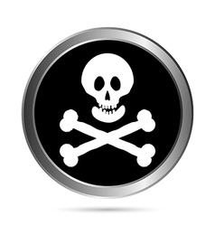 Jolly Roger flag button vector image