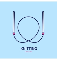 Knitting is love modern line icon vector