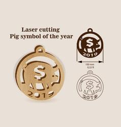 Laser cutting for wood pig symbol 2019 vector