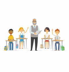 Lesson at school - cartoon people characters vector