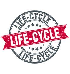 life-cycle round grunge ribbon stamp vector image