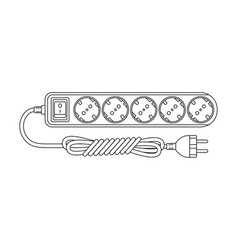Line art black and white electric extension cord vector