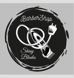 logotype for hairdressing salon with shiny blades vector image
