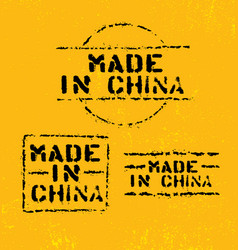 made in china rough stencil stamp on grunge vector image