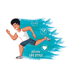 man athlete running healthy lifestyle vector image
