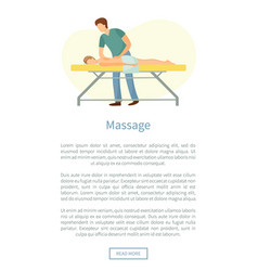 Massage poster masseuse making relaxing movements vector