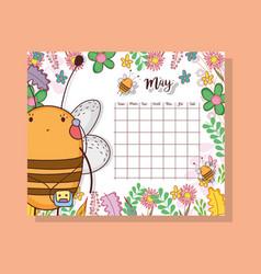 May calendar with cute bee animal vector