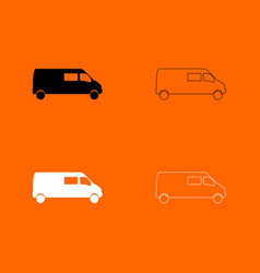 minibus black and white set icon vector image