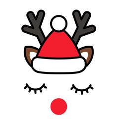 minimalistic cute christmas reindeer with santa vector image