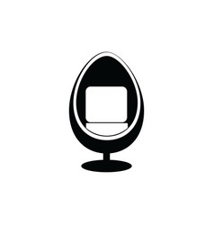 Modern egg shaped arm chair icon isolated on white vector